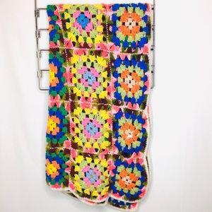 VTG Granny Squares crochet knitted blanket 0247
